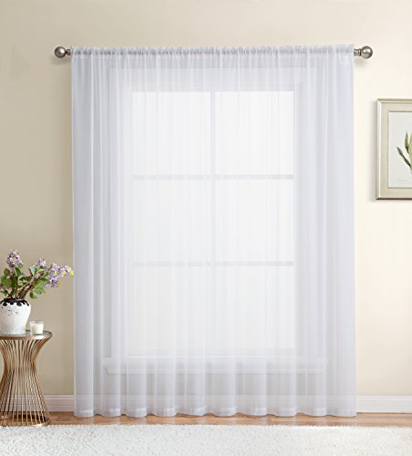 HLC.ME White Window Sheer Voile Curtain Panel for Sliding Patio Glass Door - Extra Wide Curtain - 100