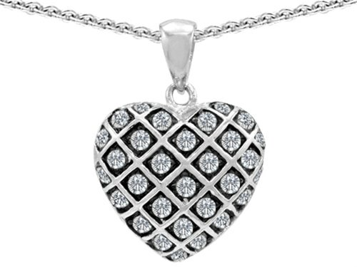 Star K Round Cubic Zirconia Puffed Heart Pendant Necklace Sterling Silver (Sterling Silver Puffed Star)