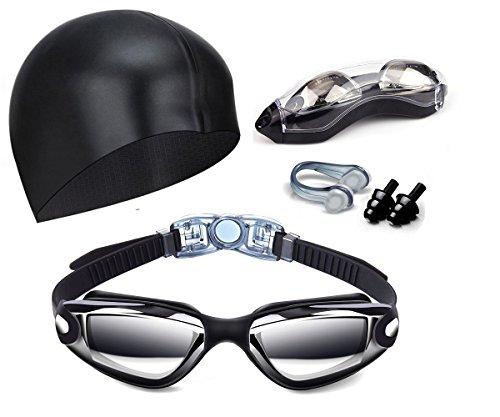 Schwimmbrille Antibeschlag,Vdealen Schwimmbrille verspiegelte Taucherbrille UV-Schutz kein Spiegelbeschichtete Linsen Auslaufen Taucherbrille Silikonband mit Schnellverschluss Einstellbare,Geschenke Nasenklammer,Ohrstöpsel & Badekappe ,für Männer Frauen Erwachsene Youth Kinde