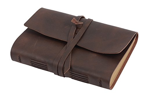 Handmade Leather Lined Journal Notebook - Genuine Leather Bound Daily Notepad For Men & Women Lined Paper 240 Pages