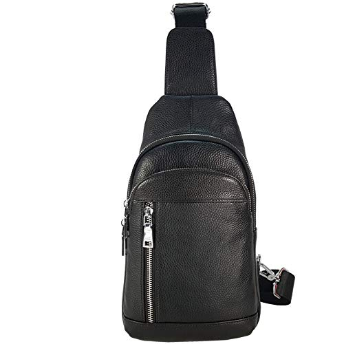 Mens chest bag casual shoulder bag fashion small bag black