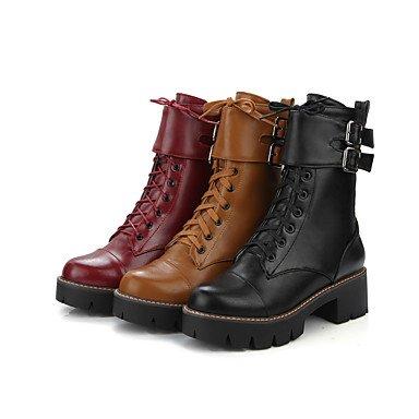 LFNLYX Mujer-Tacón Robusto-Tacones / Plataforma / Botines / Punta Redonda-Botas-Oficina y Trabajo / Casual-Semicuero-Negro / Amarillo / Rojo Black