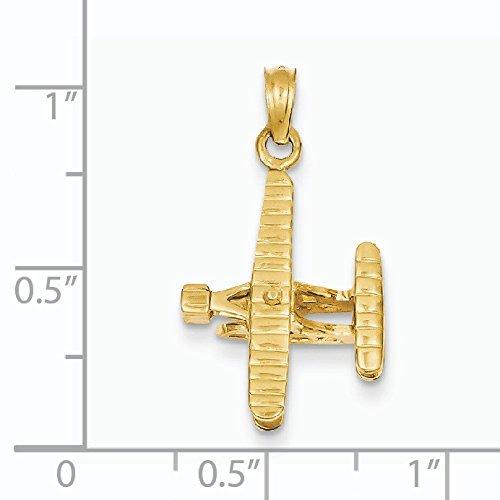 3-D 14 carats Bicolore avec ailes pendentif Rabot côtelé-Dimensions :  16 x 16 mm JewelryWeb