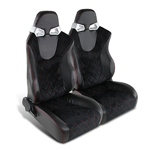 Spec-D Tuning RS-C400SURS-2 Seat (Black RVC with Blue Suede Racing - Pair)