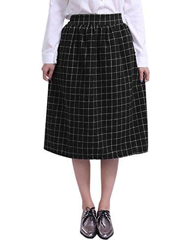 Allegra K Midi Falda A- Línea De Estambre Para Mujeres Cintura Elástica Telas Escocesas Negro