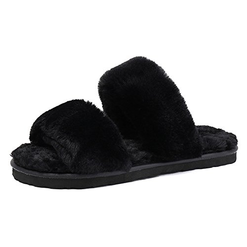 Toe Open House Womens nbsp;JESSI Slide Black Indoor MAIERNISI Soft Slippers Bedroom Faux Shoes 131 Fur vn0p5YYqwx