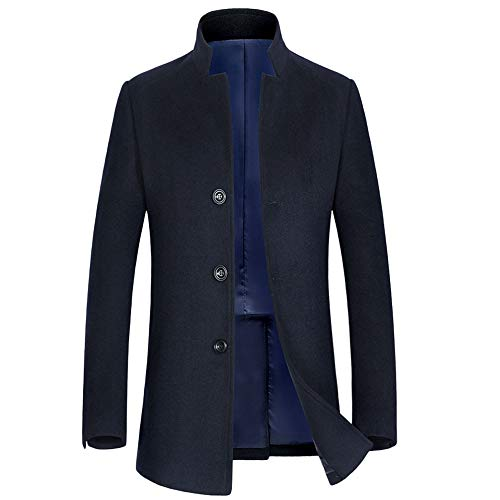 Jacket Windproof Elegant Navy Medium Single Overcoat Warm Breasted Stand Trenchcoats Office Long Collar Outerwear Woolen Men's xw7q4zAnI