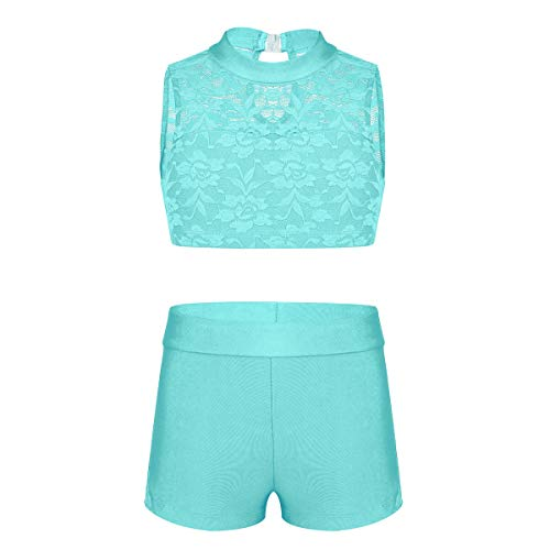 CHICTRY Child Girls Activewear Sequins Mermaid Tank Top & Shorts Set for Gymnastics Leotard Dancing Floral Lace Turquoise 7-8