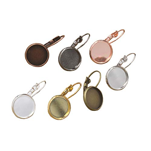 Earring Dangle Hooks 70 Pieces 12Mm Copper Cabochon Pendant Tray Ear Hook Style Earring Backs Jewelry Making for Women Girl DIY Art Craft (7 Colors) ()