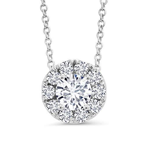 IGI Certified 0.50 cttw Round Brilliant Diamond 14K White Gold Halo Style Pendant with 16