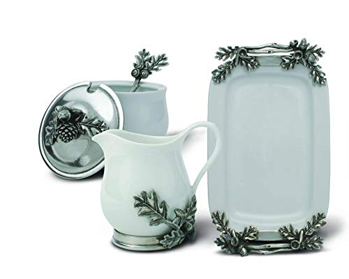 Vagabond House Stoneware Creamer Set - Pewter Acorn & Oak Leaf 12.25