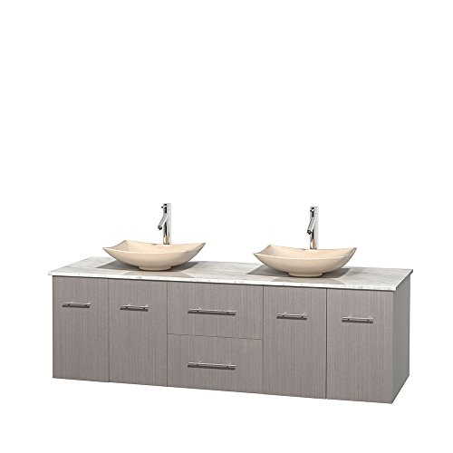 Wyndham Collection Centra 72 inch Double Bathroom Vanity in Grey Oak, White Carrera Marble Countertop, Arista Ivory Marble Sinks, and No Mirror price