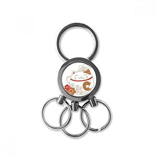 Lucky Seven Car Charm - Fat Lucky Fortune Cat Flower Copper Japan Culture Metal Key Chain Ring Car Keychain Trinket Keyring Novelty Item Best Charm Gift