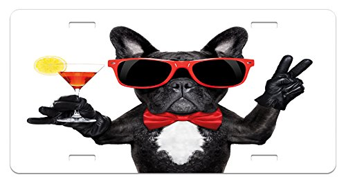 Lunarable Funny License Plate, French Bulldog Holding Martini Cocktail Ready for The Party Nightlife Joy Print, High Gloss Aluminum Novelty Plate, 5.88 L X 11.88 W Inches, Black Red White