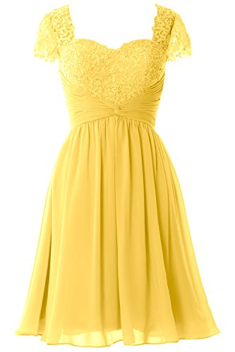 Lace Gown Dress MACloth Sleeve of Bride Mother Formal Women Canary Short Party Cap 00xqAwCB