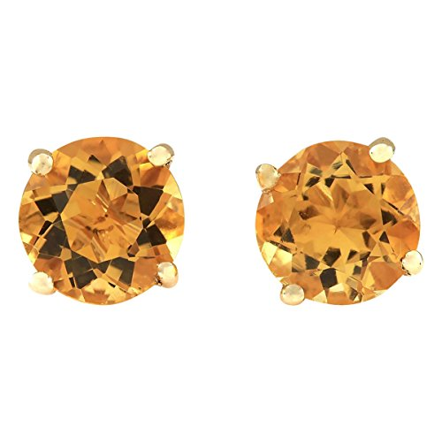 - 3 Carat Natural Orange Citrine 18K Yellow Gold Solitaire Stud Earrings for Women Exclusively Handcrafted in USA