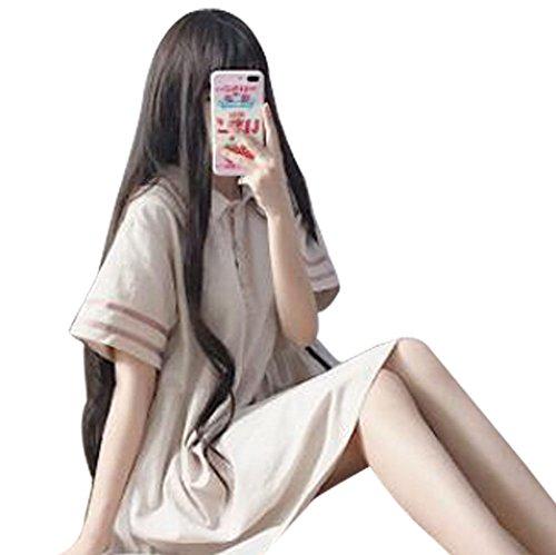 酸化するナイロン汚物GuDeKe 春夏 ワンピース レディース セーラー襟 aライン 半袖 ロングスカート プルオーバー ロリータ風 ロングシャツ ゆったり カジュアル スリム 原宿風