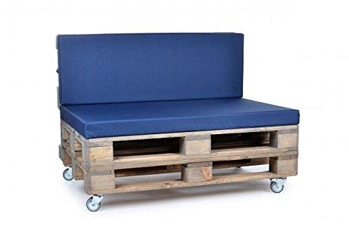 Palettenkissen, Gartenmöbel Auflagen, Sitzbankauflage, Matratzenauflagen auch m. Rückenlehne bzw. Dekokissen in Nylon, blau, wasserabweisend und strapazierfähig