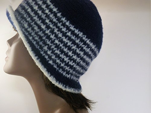 Working Girl Felted Cloche Hat Collection- 1920s style blue and white striped (Felted Bucket)