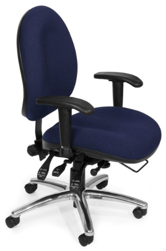 OFM 24 Hour Big and Tall Ergonomic Task Chair - Computer Desk Swivel Chair with Arms, Blue - Resistant Seating Stain Ofm