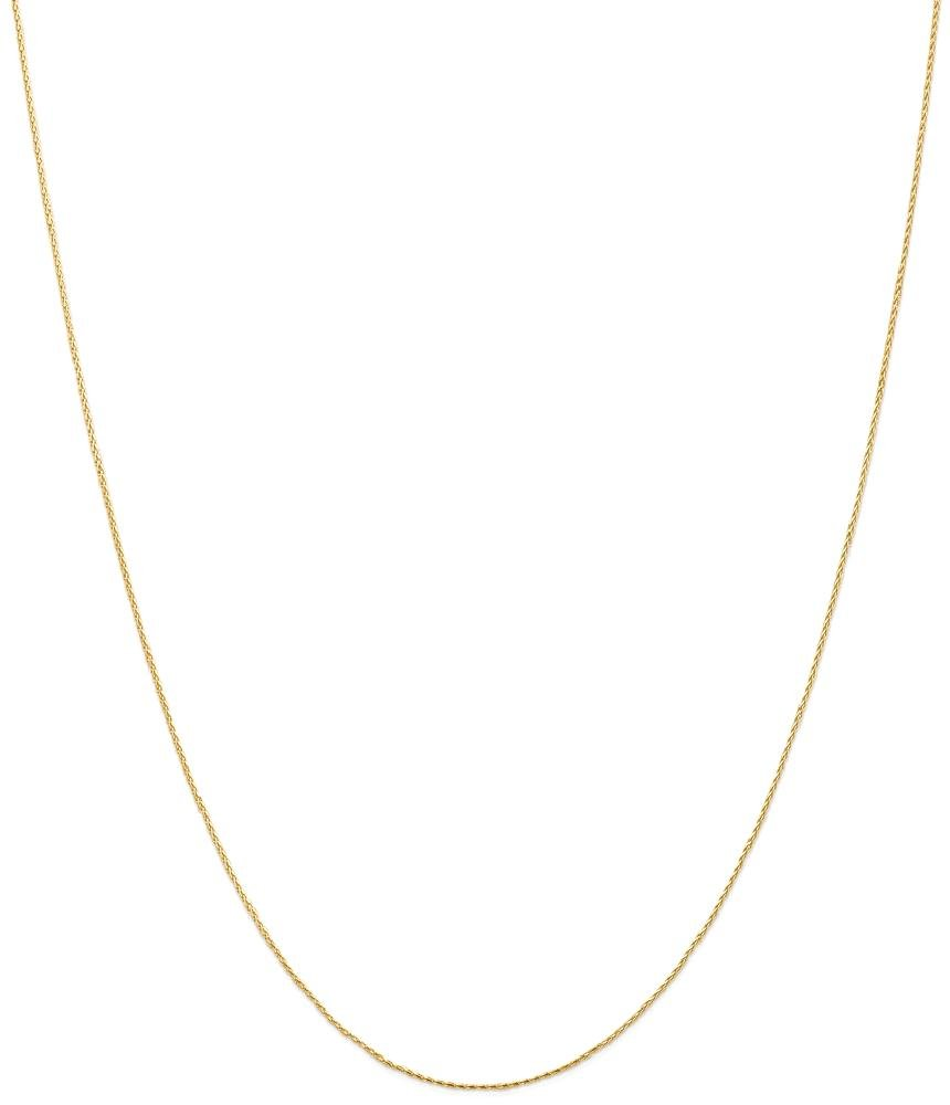 ICE CARATS 14k Yellow Gold .8mm Round Link Wheat Chain Necklace 20 Inch Spiga Parisian Fine Jewelry Gift Set For Women Heart