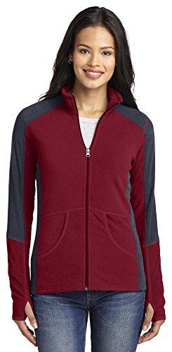 - Port Authority Ladies Colorblock Microfleece Jacket, Garnet/ Battleship Grey, XXXX-Large