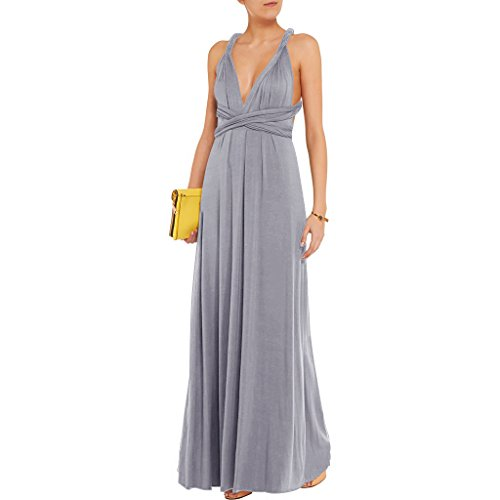 JET-BOND Night Dress Multi-Way Wrap Camisoles Halter Floor Long Dress High Elasticity FS41 (XL, Grey) -