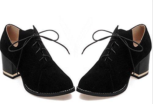 del donna tribunale diamanti scarpe XIE di punta con punta alti BLACK scarpe a 36 passeggio tacco da 37 massima pizzo WYqgqI