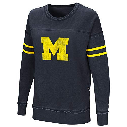 Colosseum Women's NCAA-Home Game- Fleece Retro Vintage Pullover Sweatshirt-Michigan Wolverines-Blue-Medium