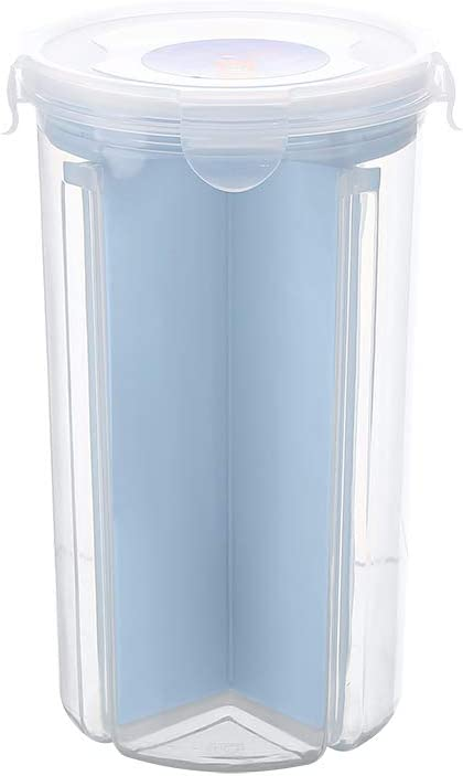 Everyfit- Kitchen Compartment Transparent Sealed Cans Food Storage Container, Airtight Watertight Cereal Box, Kitchen Storage Tank Can For Grains, Dried Fruit, Snacks, 4 Compartments(Blue)