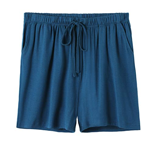 Vislivin Womens Pajama Shorts Sleep Shorts Stretchy Pajama Pants Blue M