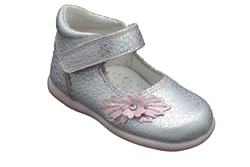 Pablosky 080578 - Botita de piel para niña color plata y rosa