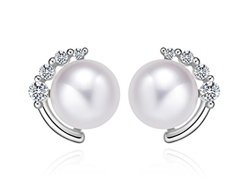 ng Silver Pearl Earrings Studs Crystal Zircon with 8mm Freshwater Pearl (white gold) ()