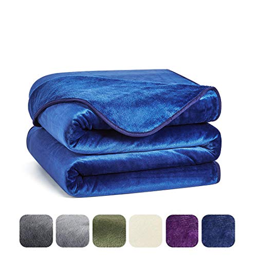 Charm Heart Luxury Fleece Blanket,Super Soft Warm 350GSM Blankets Thick Blanket for Home Bed Blankets Twin Size, Dark Blue 66×90 in ()