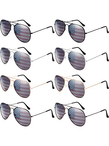 8 Pack Aviator USA America American Flag Sunglasses for 4th of July(Assorted Colors)]()