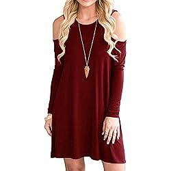 QIXING Women's Long Sleeve Cold Shoulder Casual Loose Swing Dress