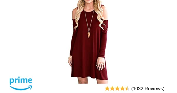 QIXING Womens Summer Cold Shoulder Tunic Top Swing T Shirt Loose Dress With Pockets At Amazon Clothing Store