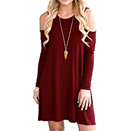 QIXING Women's Long Sleeve Cold Shoulder Tunic Top Swing T-Shirt Loose Dress with Pockets