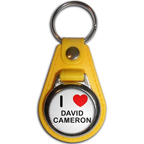 David Medallion (I Love David Cameron - Yellow Plastic / Metal Medallion Coulor Key Ring)