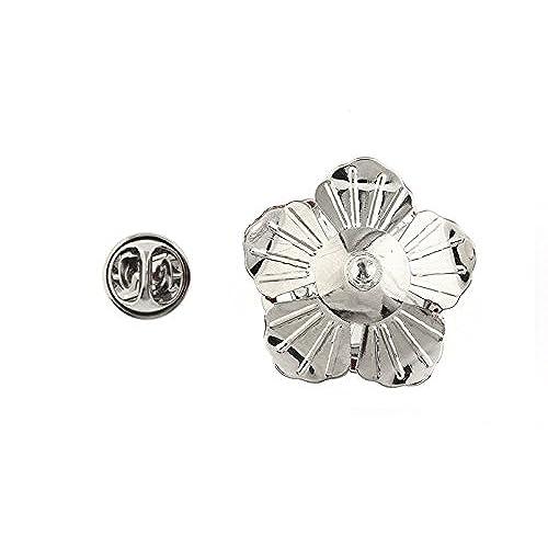 92e31f019925 Lucky Bloom Flower Lapel Pin Silver Tone White Enamel Tie Tack Blossom