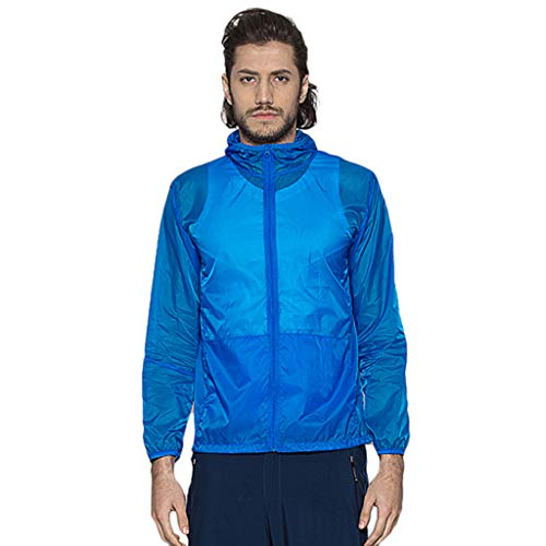Pongfunsy Men's Cycling Jacket Vest Windproof Water-Resistant Coat Breathable Outdoor Sportswear Quick Dry Windbreaker Blue ()