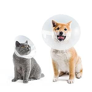 Collar Isabelino Perro Mascota Gato Cono para Mascotas, Rotector de Heridas, Anti Bite, para Perros Peque?os y Medio y Gatos, Transparente, M