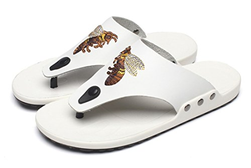 Casual Beach TDA Summer Flip Men's Slippers White Flops Leather Slip on xrOBxC0