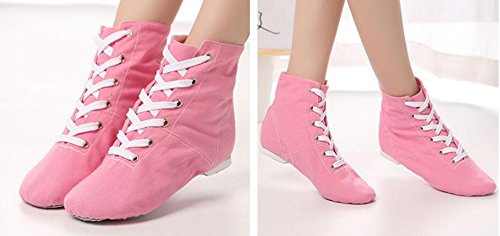 5 Modern Ballroom Canvas Boots Womens Lace Dance Jazz Shoes The Pink Over missfiona Ankle up vqOtxt4U