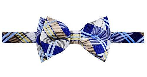 Retreez Elegant Tartan Plaid Check Woven Microfiber Pre-tied Boy's Bow Tie - Navy Blue and Khaki - 24 months - 4 ()