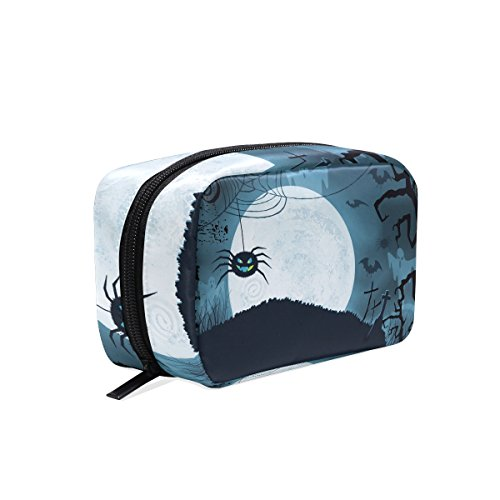 MAPOLO Blue Halloween Scary Spider Bat Handy Cosmetic Pouch Clutch Makeup Bag Organizer Travel (Scary Halloween Stuff To Make)