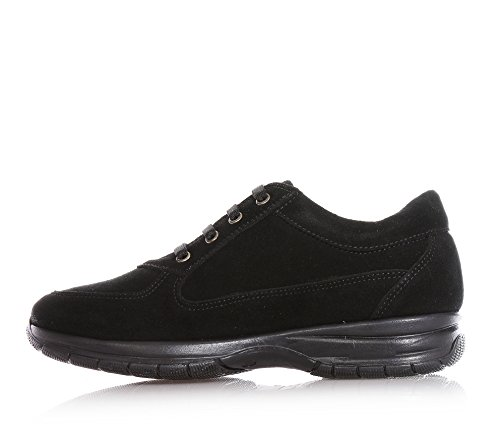 BYBLOS - Chaussure à lacets noire en croûte, avec pièce en cuir avec logo sur la languette, logo latéral en strass, coutures visibles, Fille, Filles, Femme, Femmes