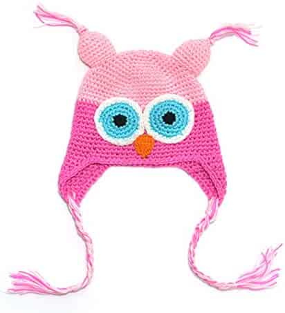56166637ed2 Cunada Newborn Toddler Baby Girls Boys Owls Animal Knit Handwork Woolly Cap  Hat Pink