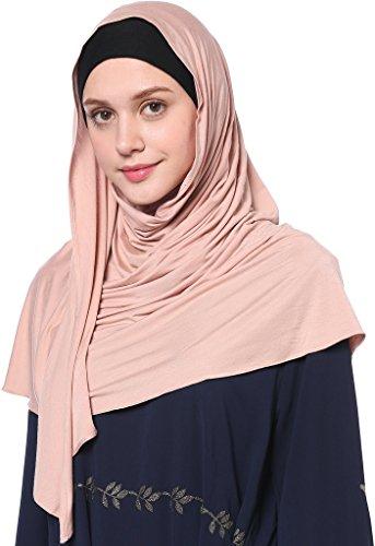 YI HENG MEI Women's Modest Muslim Islamic Soft Solid Cotton Jersey Inner Hijab Full Cover Headscarf,Dark Pink by YI HENG MEI