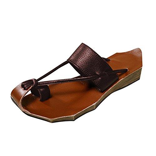 Clip Plage Frestepvie brown Sandales Chaussure Fille Plates Flip Vacances Toe Femme Tongs de Eté Flops Mode Casual 6RXwBaRq